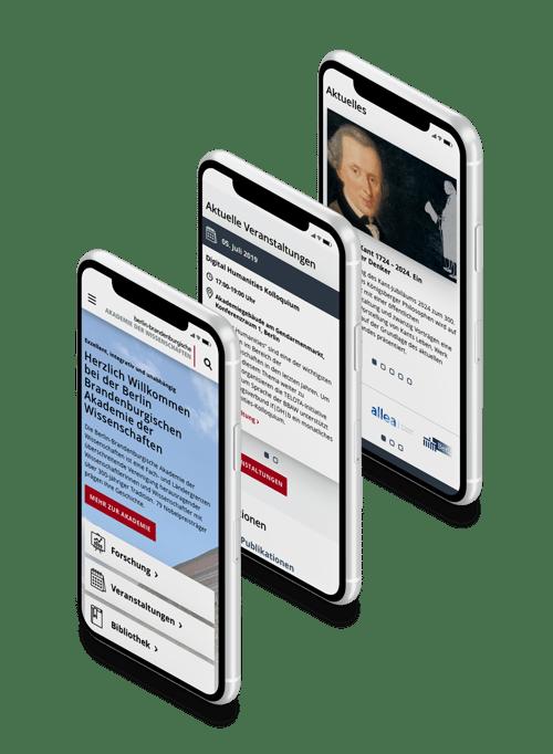 3 Mobile Screenshots der neuen BBAW Website