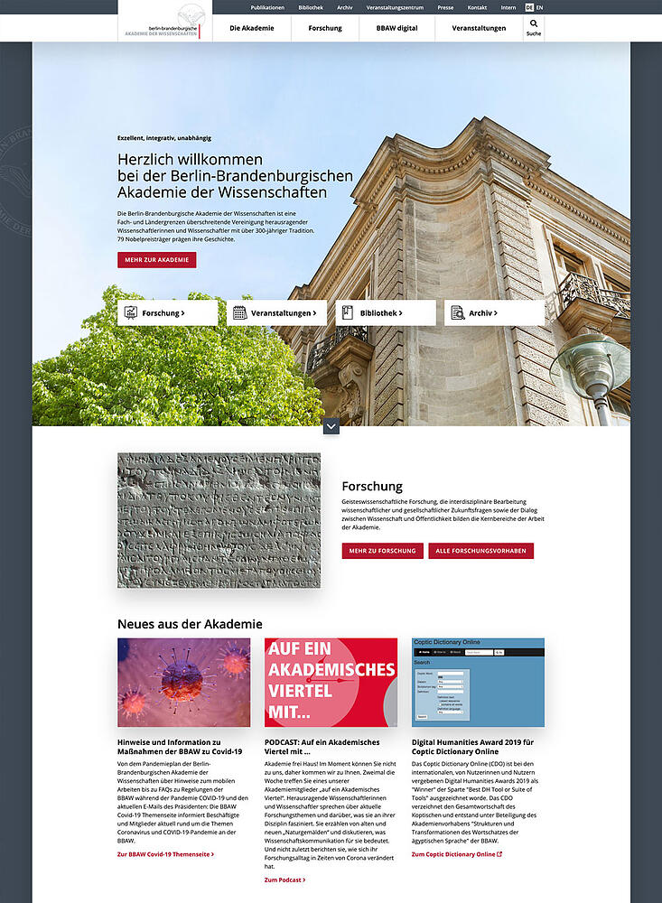 Screenshot der neuen BBAW Website
